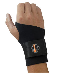 "Ergodyne Large Black ProFlex 670 Neoprene Ambidextrous Single Strap Wrist Support With Reversible Hook And Loop Closure And 2"" Woven Elastic Straps"