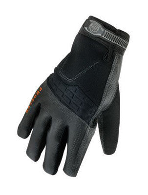 Ergodyne X-Large Black ProFlex 9002 Half Finger Pigskin Anti-Vibration Gloves With Woven Elastic Cuff, Polymer Palm Pad, Pigskin Leather Palm And Fingers, Low Profile Closure And Neoprene Knuckle Pad