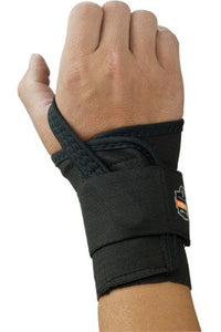 Ergodyne Small Black ProFlex 4000 Elastic Single Strap Left Hand Wrist Support With Two-Stage Hook And Loop Closure And Open-Center Stay