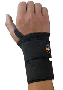 Ergodyne Small Black ProFlex 4010 Elastic Double Strap Left Hand Wrist Support With Two-Stage Hook And Loop Closure And Open-Center Stay