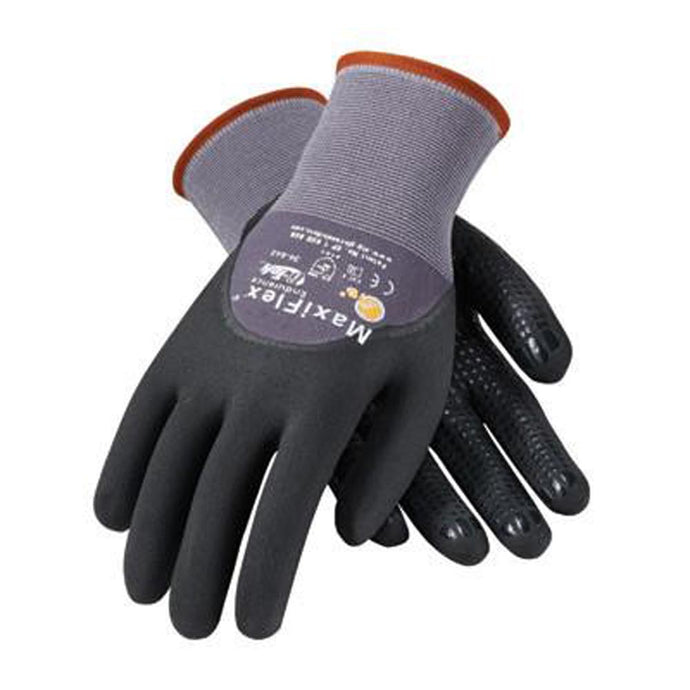Protective Industrial Products 34-845/M Medium MaxiFlex Endurance by ATG 15 Gauge Abrasion Resistant Black Micro-Foam Nitrile Palm And Fingertip Coated Work Gloves With Gray Seamless Knit