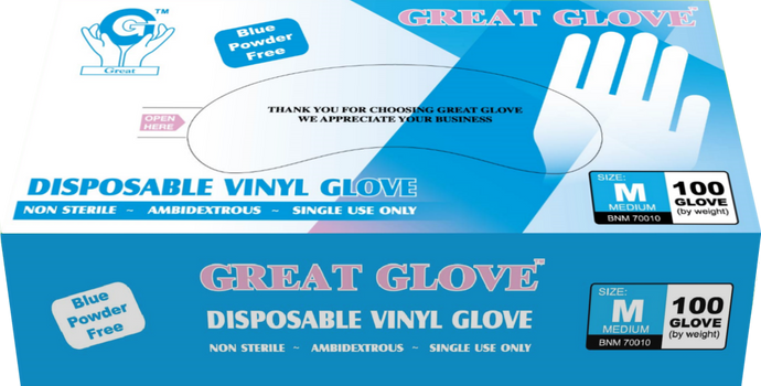 Great Glove - Blue Vinyl General Purpose Powder-Free Disposable Gloves - Box