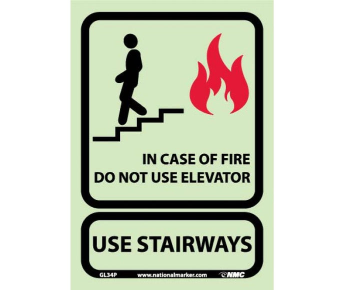 10 X 7 In Case Of Fire Do Not Use El... Glow Sign