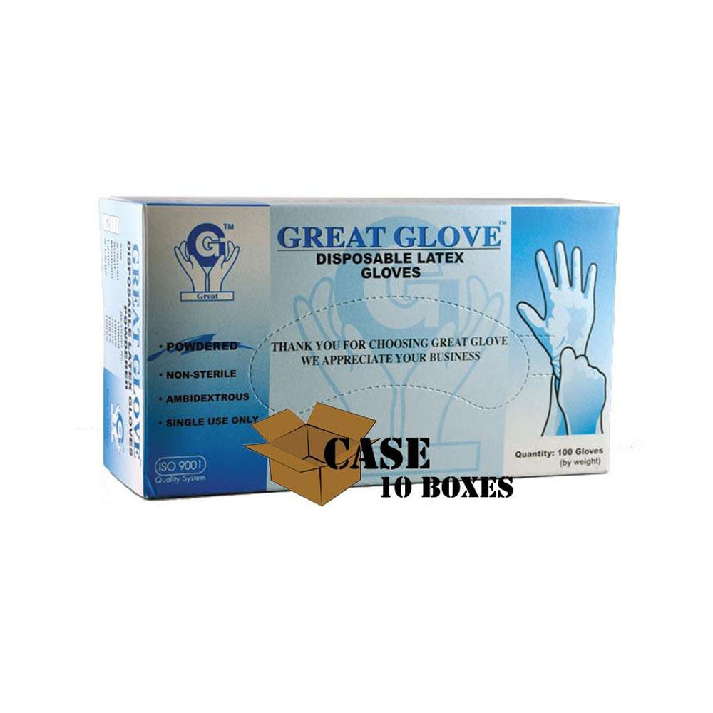 Great Glove - Lightly Powdered Disposable Latex Glove - Case