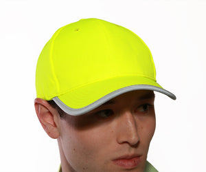 Enhanced Visibility Baseball Hat - Fluorescent Yellow-Green - Polyester - Silver Reflective Trim