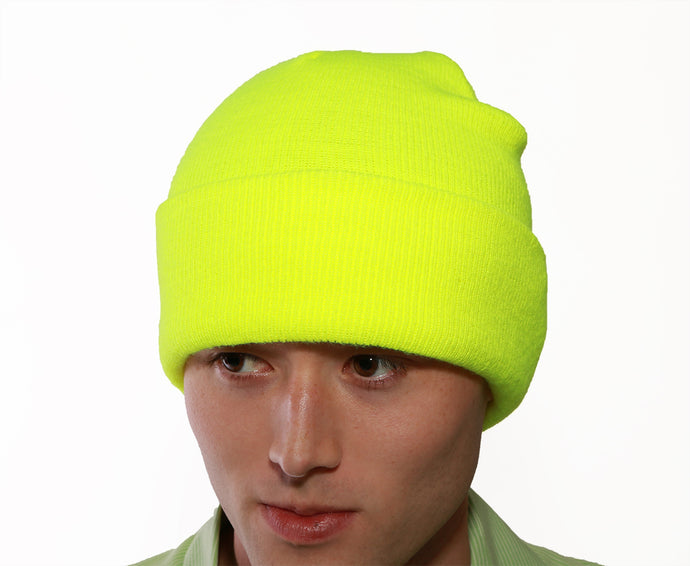 Enhanced Visibility Knit Hat - Fluorescent Yellow-Green - Polyester