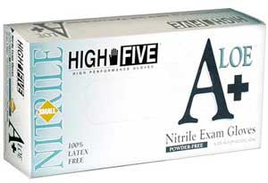 High Five - A+ Aloe Nitrile Exam Glove Size Medium