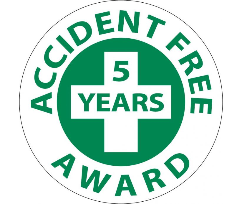 Accident Free 5 Years Award Hard Hat Emblem - Pack of 25