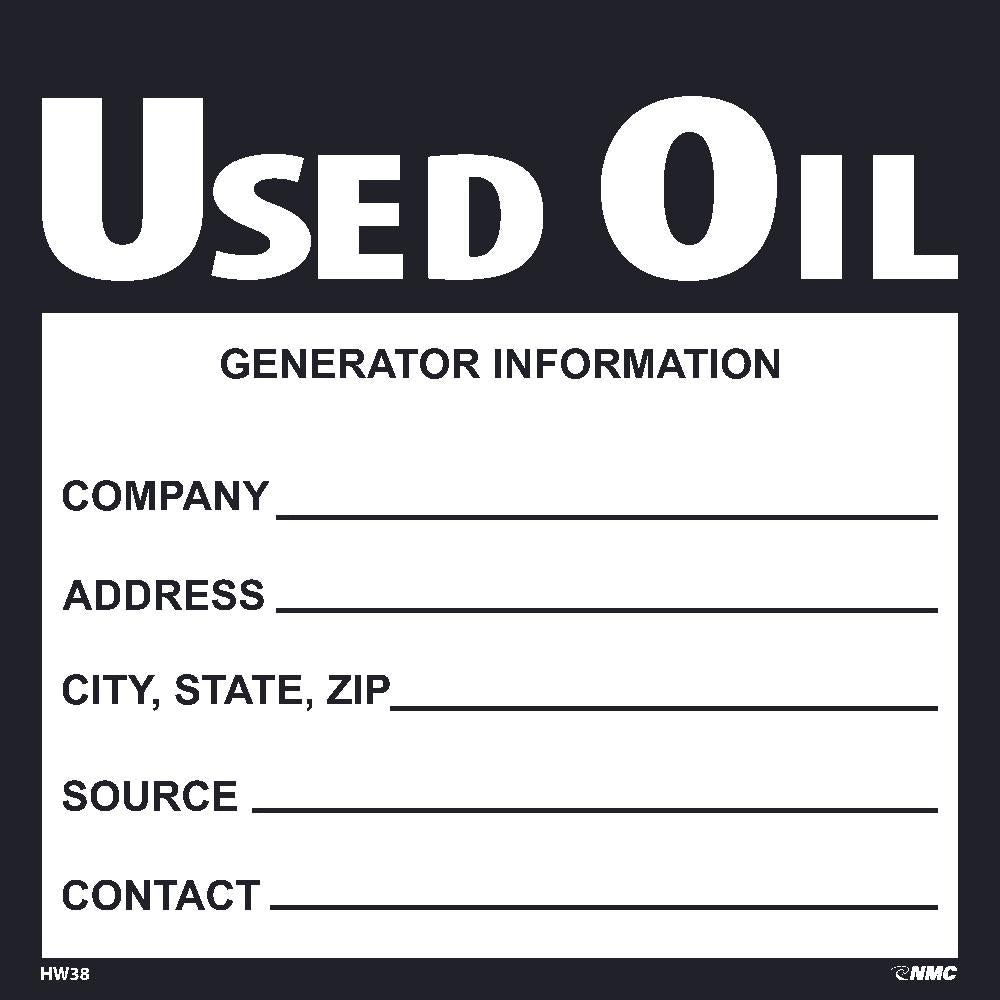 Use Oil Hazmat Label - Roll