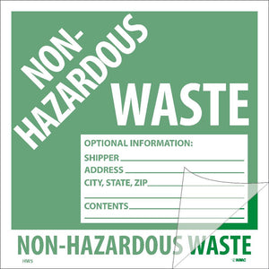 Non-Hazardous Waste Self-Laminating Label - 5 Pack