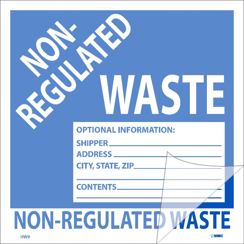Non-Regulated Waste Self-Laminating Label