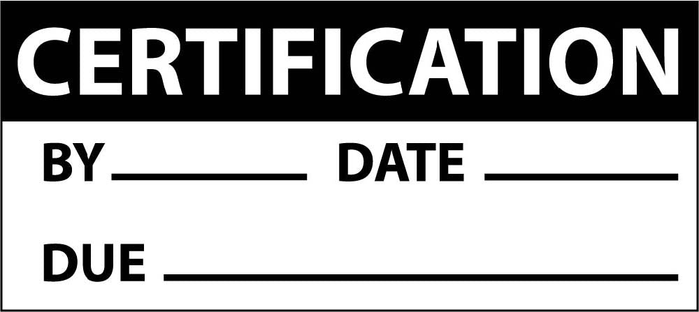 Certification Date & Due Date Label - 3 Pack
