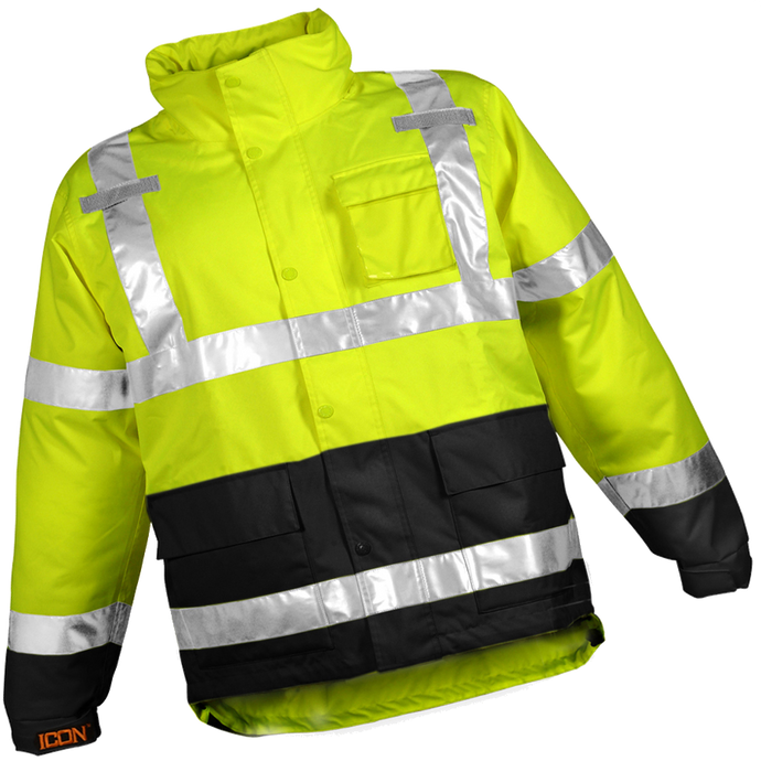 Icon™ Jacket - Type R Class 3 - Fluorescent Yellow-Green-Black - Attached Hood - Silver Reflective Tape