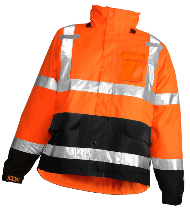 Icon™ Jacket - Type R Class 3 - Fluorescent Orange-Red-Black - Attached Hood - Silver Reflective Tape