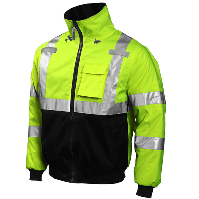 Bomber Jacket -  Type R Class 3 - Fluorescent Yellow-Green-Black - Silver Reflective Tape - Insulated Fleece Liner - Attached Hood