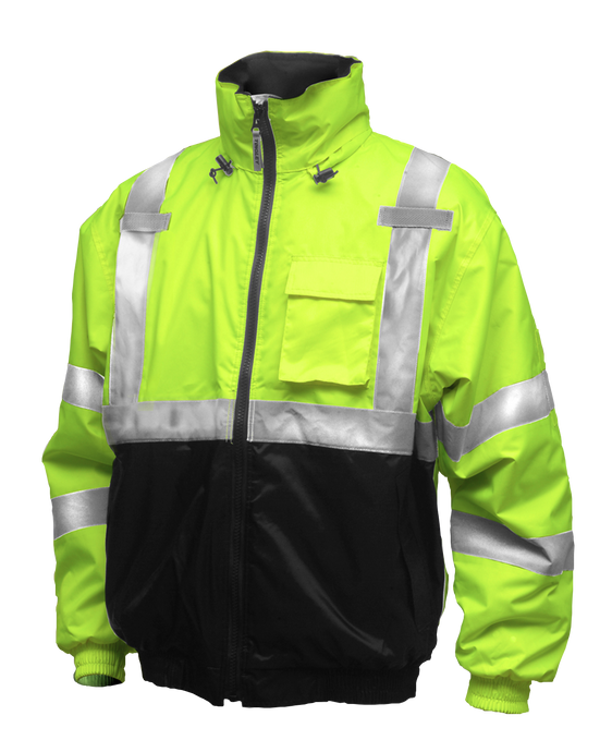 Bomber II™ Jacket - Type R Class 3 - Fluorescent Yellow-Green-Black - Silver Reflective Tape - Polyester Quilted Liner - Attached Hood