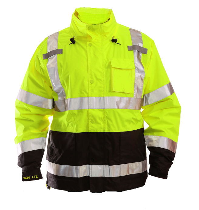Icon LTE™ Jacket - Type R Class 3 - Fluorescent Yellow-Green-Black - Attached Hood - Silver Reflective Tape