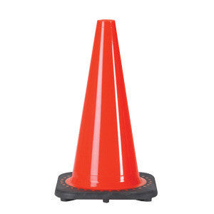 "JBC 18"" Orange PVC Revolution Series 1-Piece Traffic Cone With Black Base"