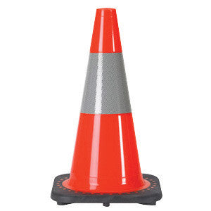 "JBC 18"" Orange PVC Revolution Series 1-Piece Traffic Cone With Black Base And 6"" 3M Reflective Collar"