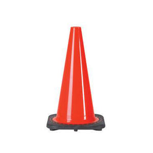 "JBC 12"" Orange PVC Revolution Series 1-Piece Traffic Cone With Black Base"