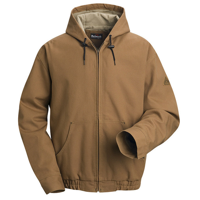 Bulwark - Brown Duck Hooded Jacket - EXCEL FR ComforTouch