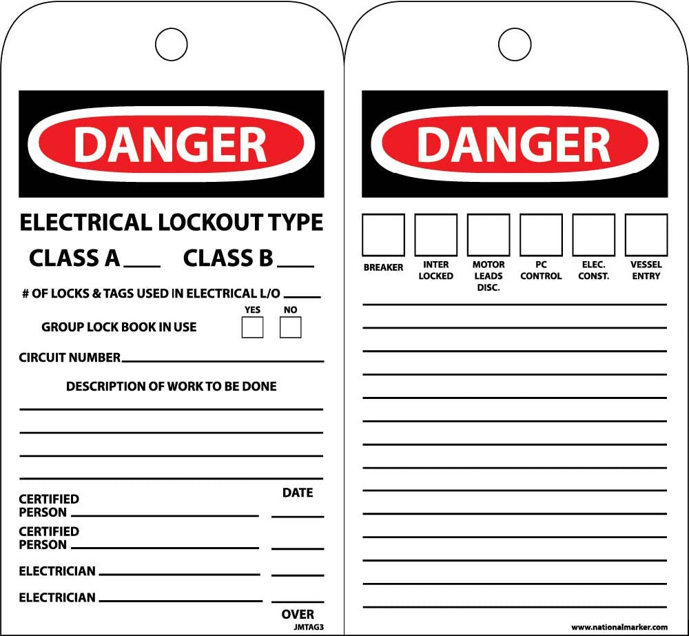 Danger Electrical Lockout Type Class A Amp Class B Tag 10