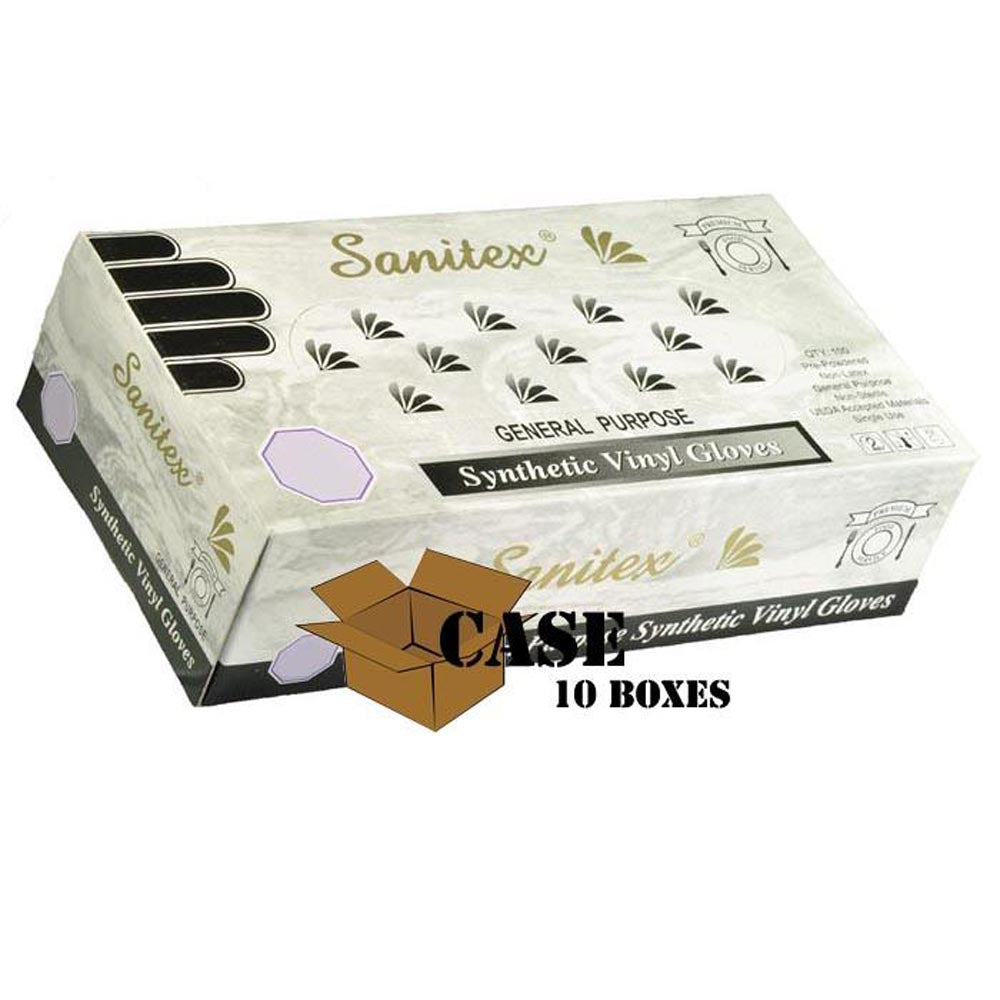 Sanitex - Disposable Vinyl Gloves, Powdered - Case