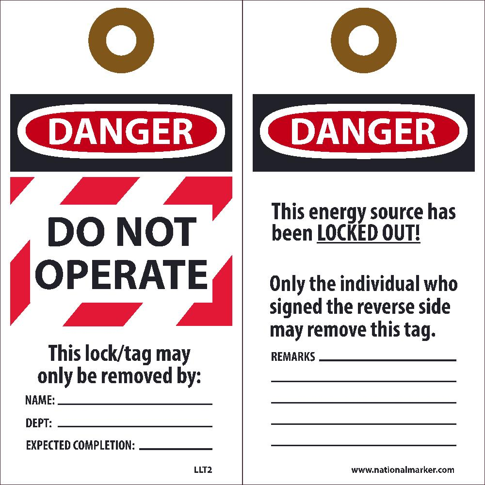 Danger Do Not Operate This Lock/Tag May Only Be Removed By Tag - Pack of 25