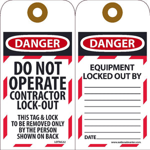 Danger Do Not Operate Contractor Lock-Out Tag - 10 Pack