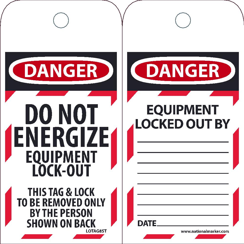 Danger Do Not Energize Equipment Lock-Out Tag - Pack of 25