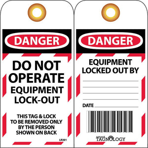 Rfid Tag, Danger Do Not Operate Equipment Lock Out - 10 Pack