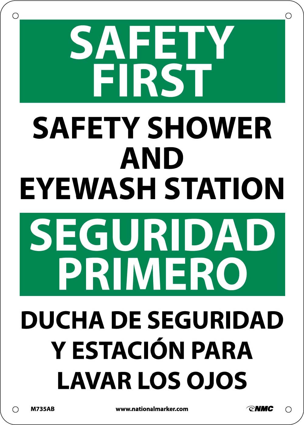 Safety First Shower And Eyewash Station Sign - Bilingual
