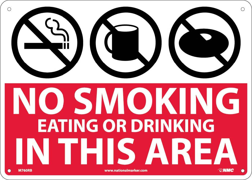 No Smoking Eating Or Drinking In This Area Sign