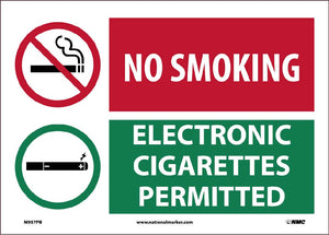 No Smoking Electronic Cigarettes Permitted Sign