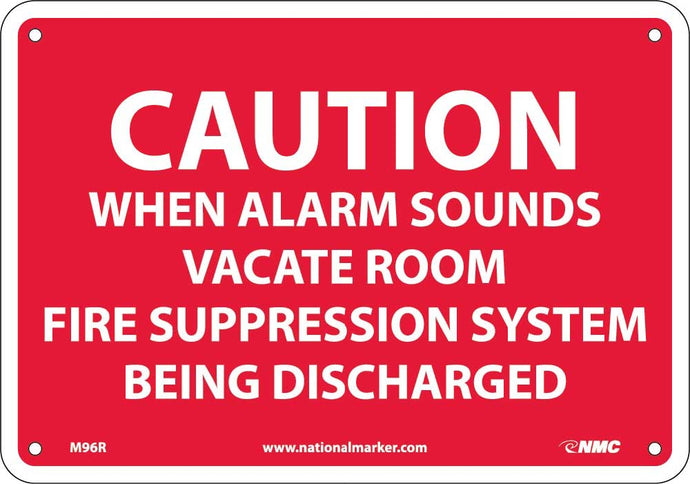 Caution When Alarm Sounds Vacate Room Sign