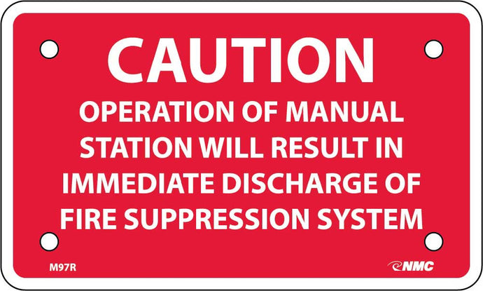 Caution Fire Suppression System Sign