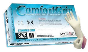 "Microflex Medium Natural 9 1/2"" ComfortGrip 5.1 mil Latex Ambidextrous Non-Sterile Exam or Medical Grade Powder-Free Disposable Gloves With Textured Finish, Standard"