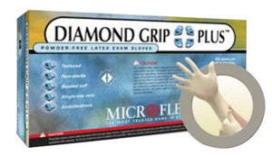 "Microflex Medium Natural 9 1/2"" Diamond Grip Plus 5.1 mil Latex Ambidextrous Non-Sterile Medical Grade Powder-Free Disposable Gloves With Textured Finish And Standard Examination Beaded Cuff"