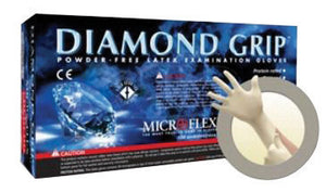 "Microflex Medium Natural 9.645"" Diamond Grip 6.3 mil Latex Ambidextrous Non-Sterile Medical Grade Powder-Free Disposable Gloves With Textured Finger Tip Finish And Standard Examination Beaded Cuff"