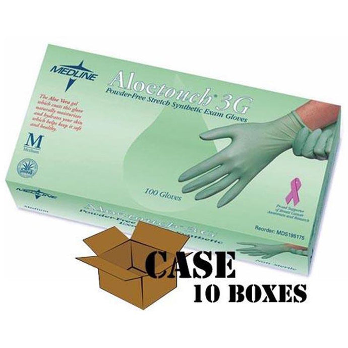 Medline - Aloetouch - 3G Vinyl Exam Gloves, Powder Free - Case