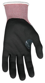 Memphis Glove Large Gray, Red And Black Ninja- 15 Guage DSM Dyneema Diamond Tech, Nylon And Fiberglass Cut Resistant Gloves With Knit Wrist And Nitrile Foam Coating On Palm And Fingers