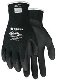 Memphis Glove- Black Ninja-18 Guage DuPont Kevlar And Stainless Steel Cut Resistant Gloves With Knit Wrist And Black Nitrile Foam Coating On Palm And Fingers