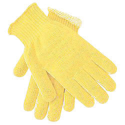Memphis Glove Large Brown And Yellow Plaited 7 gauge Regular Weight Kevlar And Cotton Cut Resistant Gloves With Knit Wrist