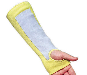 "Memphis Glove Yellow 14"" Kevlar And Cotton Cut Resistant Sleeve With Thumb Slot And Leather Pad"