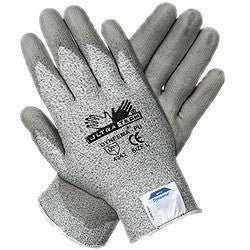 Memphis Large UltraTech 13 Gauge Cut Resistant Gray Polyurethane Dipped Palm And Finger Coated Work Gloves With Dyneema Liner And Knit Wrist