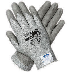 Memphis 2X UltraTech 13 Gauge Cut Resistant Gray Polyurethane Dipped Palm And Finger Coated Work Gloves With Dyneema Liner And Knit Wrist