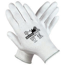 Memphis Medium UltraTech 13 Gauge Cut Resistant White Polyurethane Dipped Palm And Finger Coated Work Gloves With Dyneema Liner And Knit Wrist