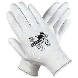 Memphis X-Small UltraTech 13 Gauge Cut Resistant White Polyurethane Dipped Palm And Finger Coated Work Gloves With Dyneema Liner And Knit Wrist