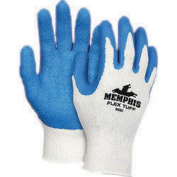 Memphis Medium FlexTuff 10 Gauge Abrasion Resistant Blue Latex And Rubber Dipped Palm And Finger Coated Work Gloves With Cotton And Polyester Liner And Knit Wrist