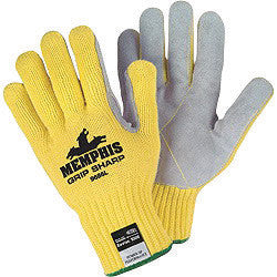 Memphis Glove Large Yellow Grip Sharp 7 gauge Leather High Comfort Level Cut Resistant Gloves With Knit Wrist, Cotton Lined, Leather Coating And Kevlar Brand Fiber Shell
